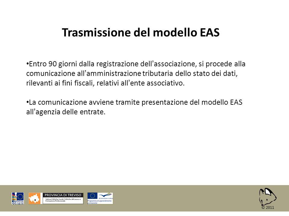 Trasmissione del modello EAS Entro 90 giorni dalla registrazione dellassociazione, si procede alla comunicazione allamministrazione tributaria dello s