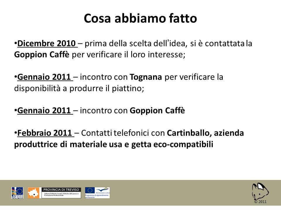 © 2011 Cosa abbiamo fatto Dicembre 2010 – prima della scelta dellidea, si è contattata la Goppion Caffè per verificare il loro interesse; Gennaio 2011