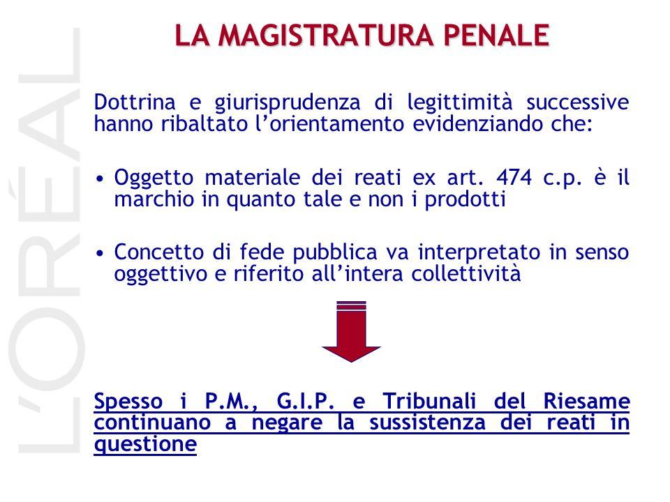 LA MAGISTRATURA PENALE Dottrina e giurisprudenza di legittimità successive hanno ribaltato lorientamento evidenziando che: Oggetto materiale dei reati