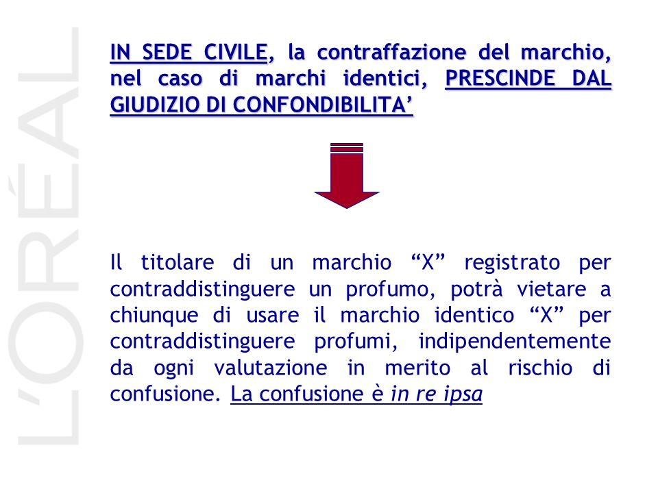 IN SEDE CIVILE, la contraffazione del marchio, nel caso di marchi identici, PRESCINDE DAL GIUDIZIO DI CONFONDIBILITA Il titolare di un marchio X regis