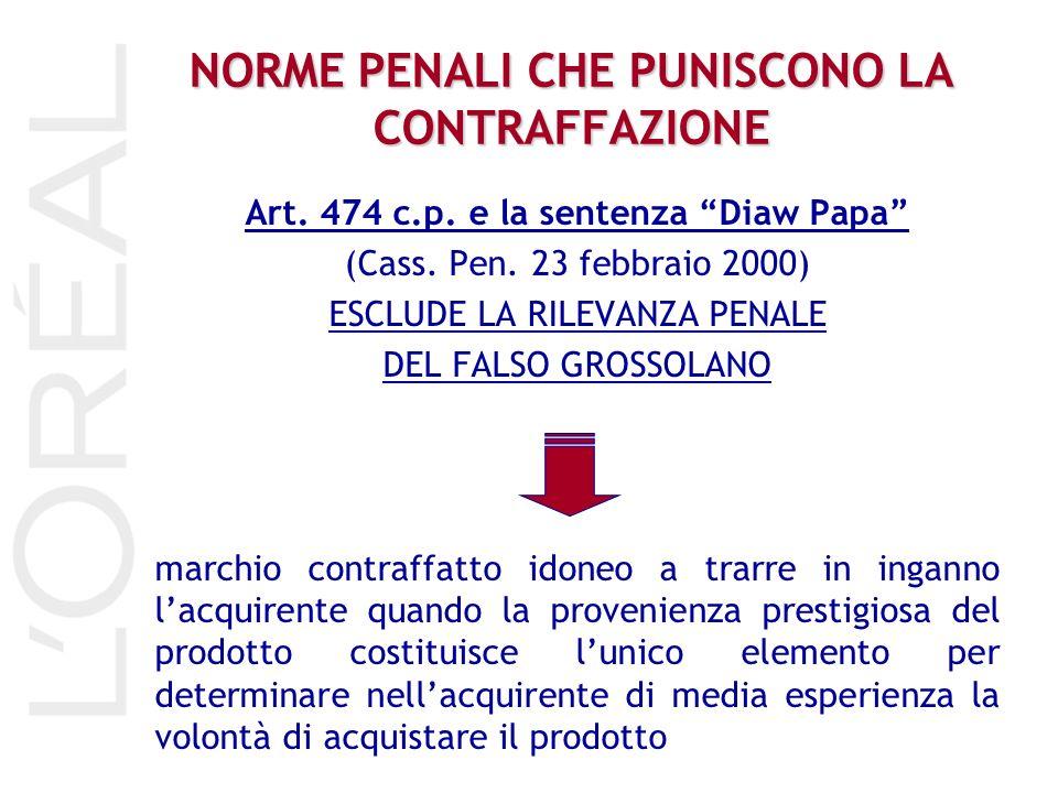 NORME PENALI CHE PUNISCONO LA CONTRAFFAZIONE Art. 474 c.p. e la sentenza Diaw Papa (Cass. Pen. 23 febbraio 2000) ESCLUDE LA RILEVANZA PENALE DEL FALSO