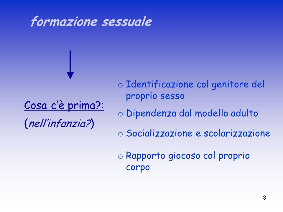 3 formazione sessuale Cosa cè prima?: ( nellinfanzia? ) o Identificazione col genitore del proprio sesso o Dipendenza dal modello adulto o Socializzaz