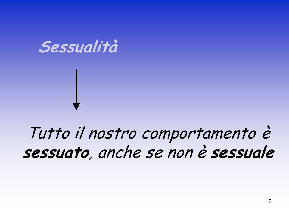 6 Sessualità Tutto il nostro comportamento è sessuato, anche se non è sessuale