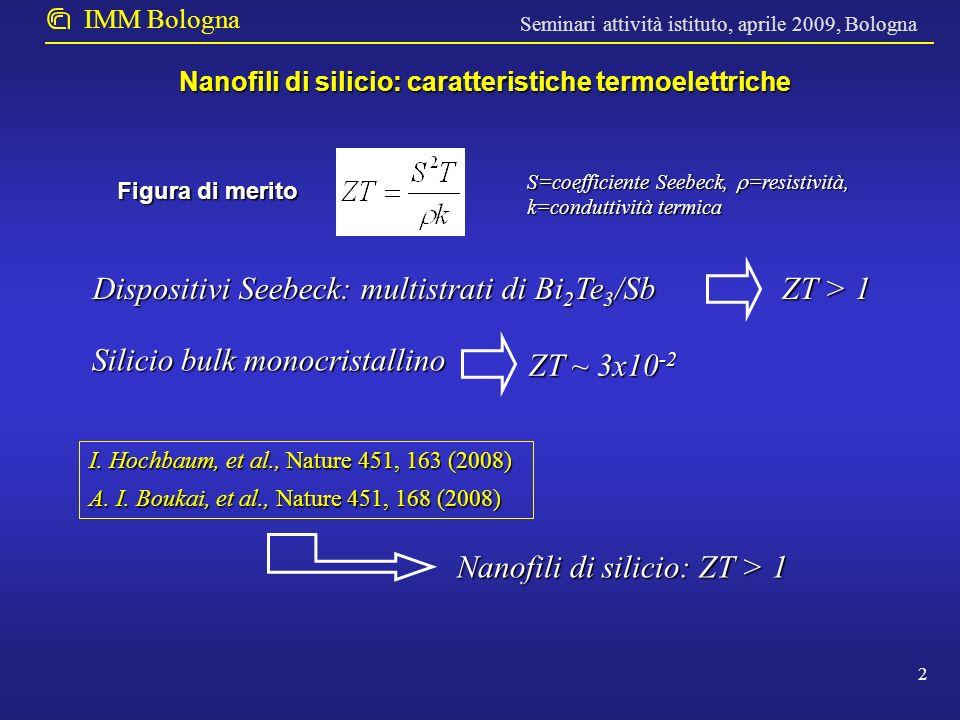 Seminari attività istituto, aprile 2009, Bologna IMM Bologna Obiettivo I: Sviluppo di una tecnologia per la preparazione di nanofili di silicio che utilizzi tecniche consistenti con la loro produzione su larga scala senza l impiego di tecniche di litografia avanzata.