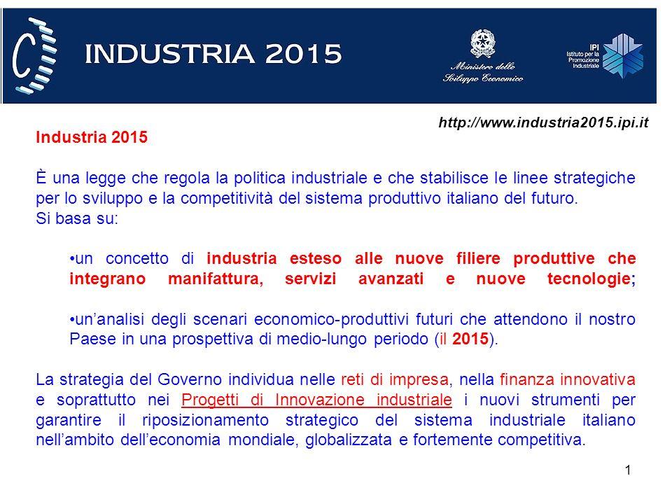 1 Industria 2015 È una legge che regola la politica industriale e che stabilisce le linee strategiche per lo sviluppo e la competitività del sistema produttivo italiano del futuro.