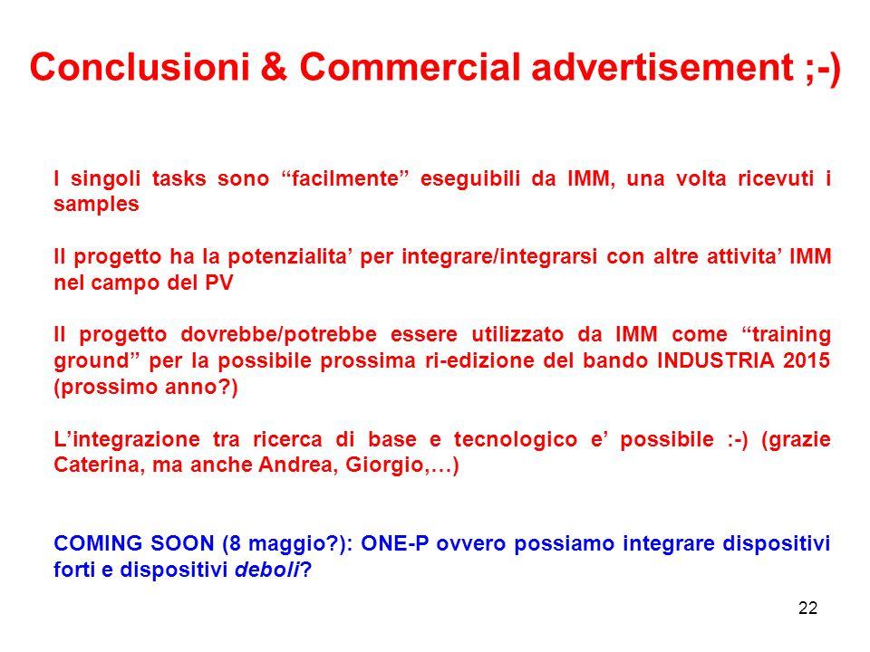 22 Conclusioni & Commercial advertisement ;-) I singoli tasks sono facilmente eseguibili da IMM, una volta ricevuti i samples Il progetto ha la potenz