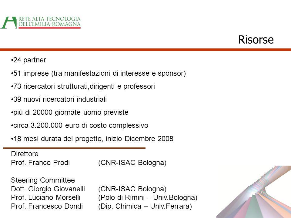 24 partner 51 imprese (tra manifestazioni di interesse e sponsor) 73 ricercatori strutturati,dirigenti e professori 39 nuovi ricercatori industriali p