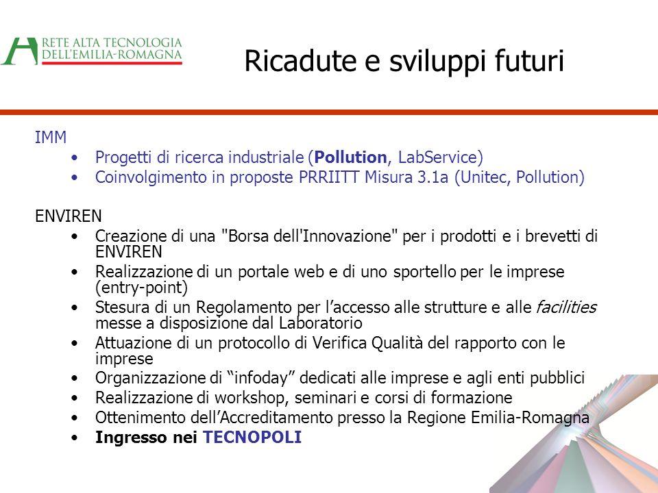 Ricadute e sviluppi futuri IMM Progetti di ricerca industriale (Pollution, LabService) Coinvolgimento in proposte PRRIITT Misura 3.1a (Unitec, Polluti