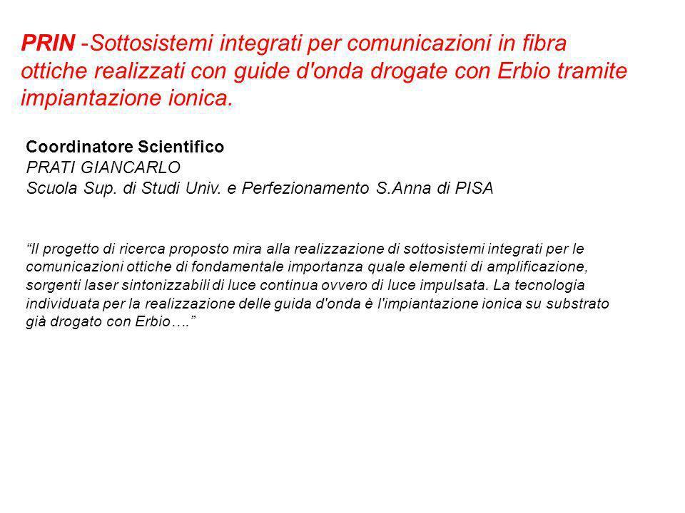 PRIN -Sottosistemi integrati per comunicazioni in fibra ottiche realizzati con guide d onda drogate con Erbio tramite impiantazione ionica.