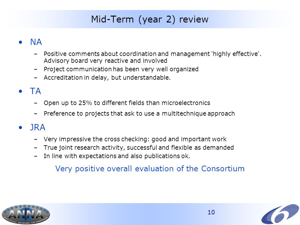 10 Mid-Term (year 2) review NA –Positive comments about coordination and management highly effective .