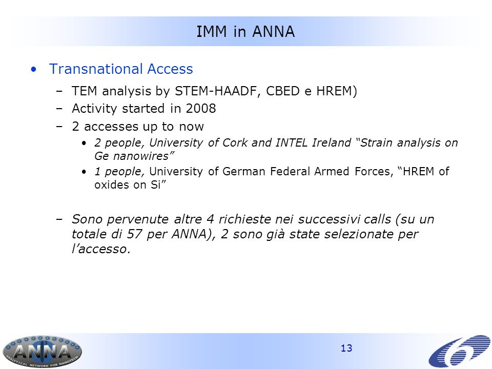 13 IMM in ANNA Transnational Access –TEM analysis by STEM-HAADF, CBED e HREM) –Activity started in 2008 –2 accesses up to now 2 people, University of Cork and INTEL Ireland Strain analysis on Ge nanowires 1 people, University of German Federal Armed Forces, HREM of oxides on Si –Sono pervenute altre 4 richieste nei successivi calls (su un totale di 57 per ANNA), 2 sono già state selezionate per laccesso.