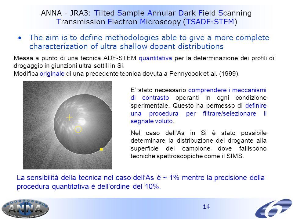 14 ANNA - JRA3: Tilted Sample Annular Dark Field Scanning Transmission Electron Microscopy (TSADF-STEM) Messa a punto di una tecnica ADF-STEM quantitativa per la determinazione dei profili di drogaggio in giunzioni ultra-sottili in Si.