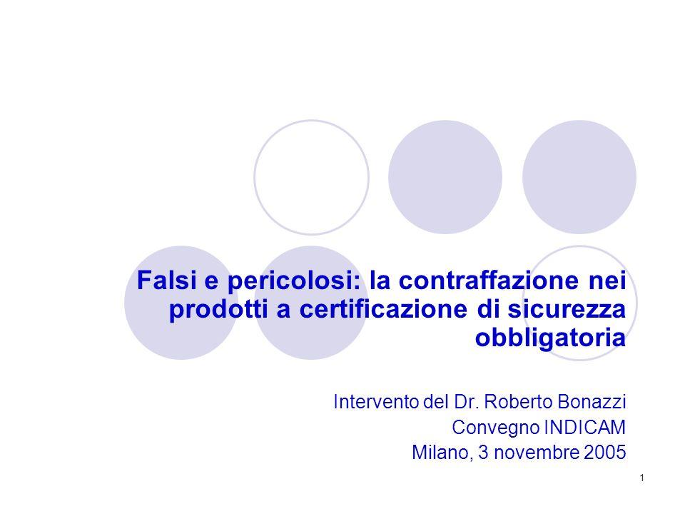 1 Falsi e pericolosi: la contraffazione nei prodotti a certificazione di sicurezza obbligatoria Intervento del Dr. Roberto Bonazzi Convegno INDICAM Mi