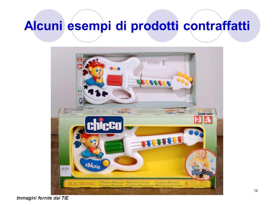 14 Alcuni esempi di prodotti contraffatti Immagini fornite dal TIE