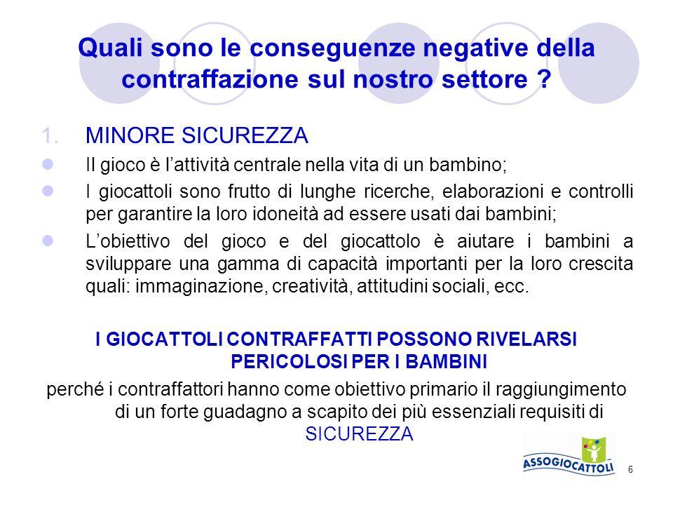 7 Quali sono le conseguenze negative della contraffazione sul nostro settore .