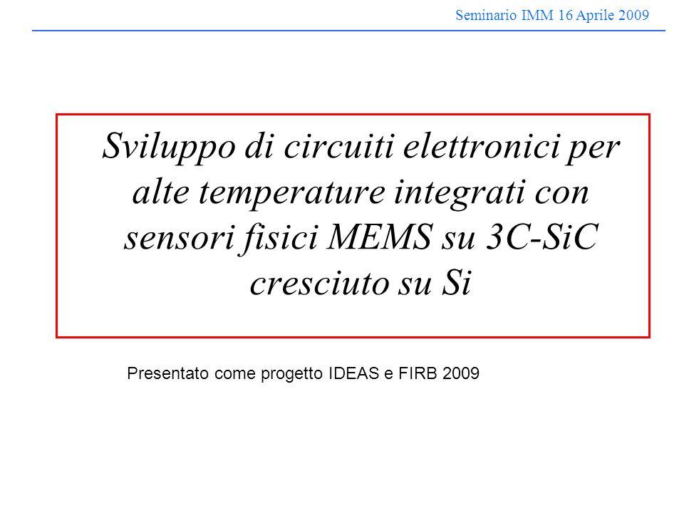 Seminario IMM 16 Aprile 2009 Sviluppo di circuiti elettronici per alte temperature integrati con sensori fisici MEMS su 3C-SiC cresciuto su Si Presentato come progetto IDEAS e FIRB 2009