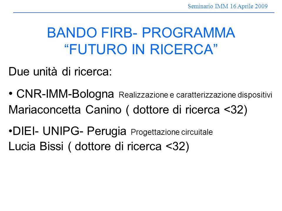Seminario IMM 16 Aprile 2009 BANDO FIRB- PROGRAMMA FUTURO IN RICERCA Due unità di ricerca: CNR-IMM-Bologna Realizzazione e caratterizzazione dispositivi Mariaconcetta Canino ( dottore di ricerca <32) DIEI- UNIPG- Perugia Progettazione circuitale Lucia Bissi ( dottore di ricerca <32)