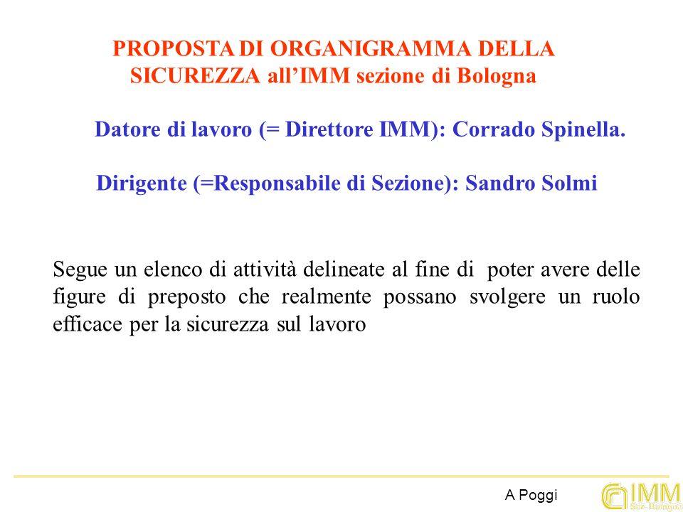 PROPOSTA DI ORGANIGRAMMA DELLA SICUREZZA allIMM sezione di Bologna Datore di lavoro (= Direttore IMM): Corrado Spinella. Dirigente (=Responsabile di S