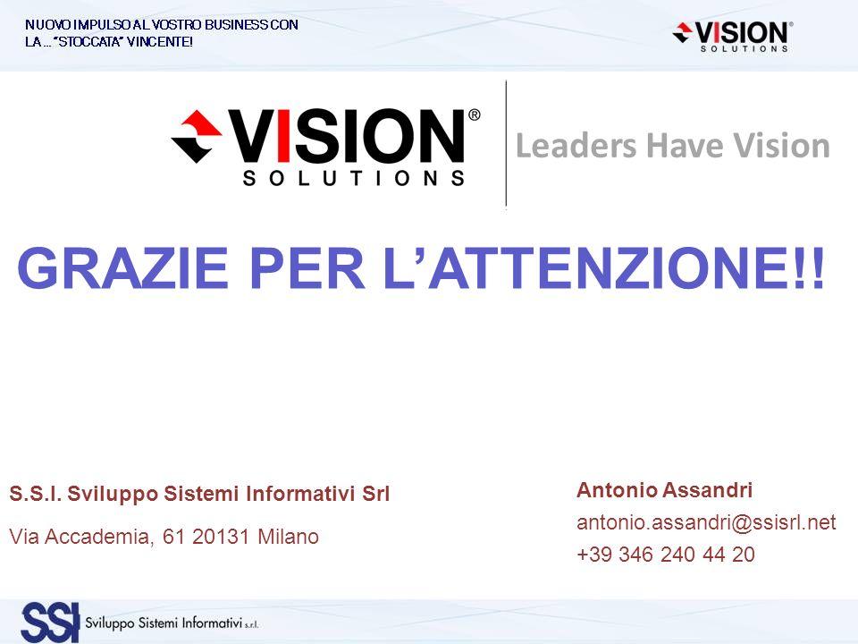GRAZIE PER LATTENZIONE!! Antonio Assandri antonio.assandri@ssisrl.net +39 346 240 44 20 S.S.I. Sviluppo Sistemi Informativi Srl Via Accademia, 61 2013