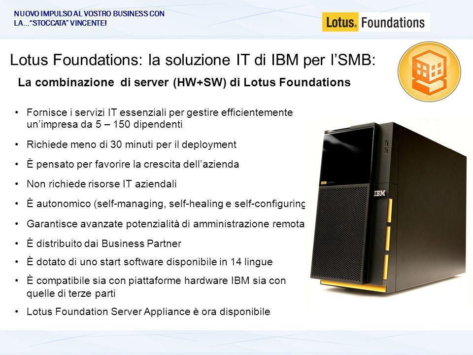 Lotus Foundations: la soluzione IT di IBM per lSMB: Fornisce i servizi IT essenziali per gestire efficientemente unimpresa da 5 – 150 dipendenti Richiede meno di 30 minuti per il deployment È pensato per favorire la crescita dellazienda Non richiede risorse IT aziendali È autonomico (self-managing, self-healing e self-configuring) Garantisce avanzate potenzialità di amministrazione remota È distribuito dai Business Partner È dotato di uno start software disponibile in 14 lingue È compatibile sia con piattaforme hardware IBM sia con quelle di terze parti Lotus Foundation Server Appliance è ora disponibile La combinazione di server (HW+SW) di Lotus Foundations NUOVO IMPULSO AL VOSTRO BUSINESS CON LA…STOCCATA VINCENTE!