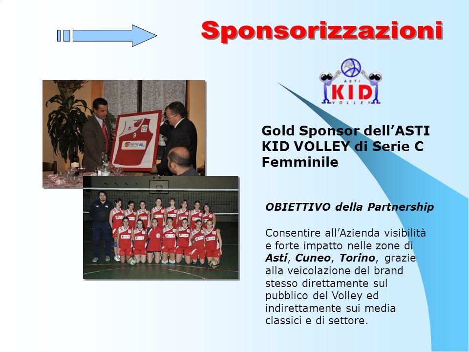 Gold Sponsor dellASTI KID VOLLEY di Serie C Femminile OBIETTIVO della Partnership Consentire allAzienda visibilità e forte impatto nelle zone di Asti, Cuneo, Torino, grazie alla veicolazione del brand stesso direttamente sul pubblico del Volley ed indirettamente sui media classici e di settore.