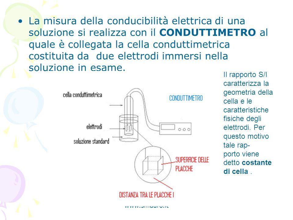 www.smauro.it La misura della conducibilità elettrica di una soluzione si realizza con il CONDUTTIMETRO al quale è collegata la cella conduttimetrica