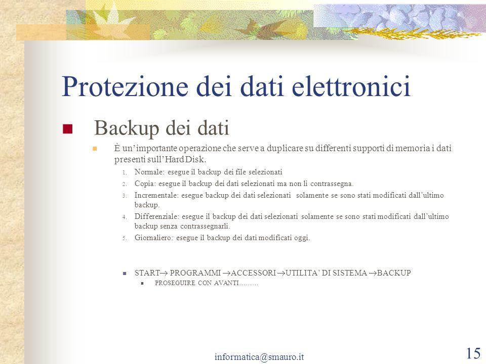 informatica@smauro.it 15 Protezione dei dati elettronici Backup dei dati È unimportante operazione che serve a duplicare su differenti supporti di mem