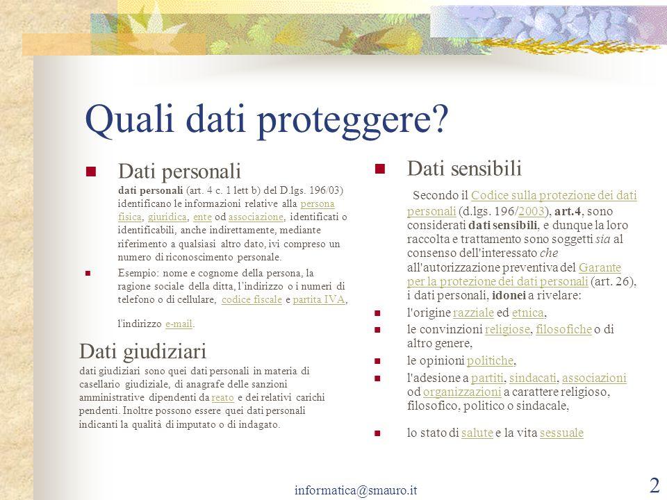 informatica@smauro.it 2 Quali dati proteggere? Dati personali dati personali (art. 4 c. 1 lett b) del D.lgs. 196/03) identificano le informazioni rela
