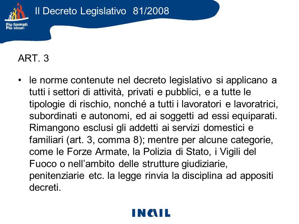 ART. 3 le norme contenute nel decreto legislativo si applicano a tutti i settori di attività, privati e pubblici, e a tutte le tipologie di rischio, n