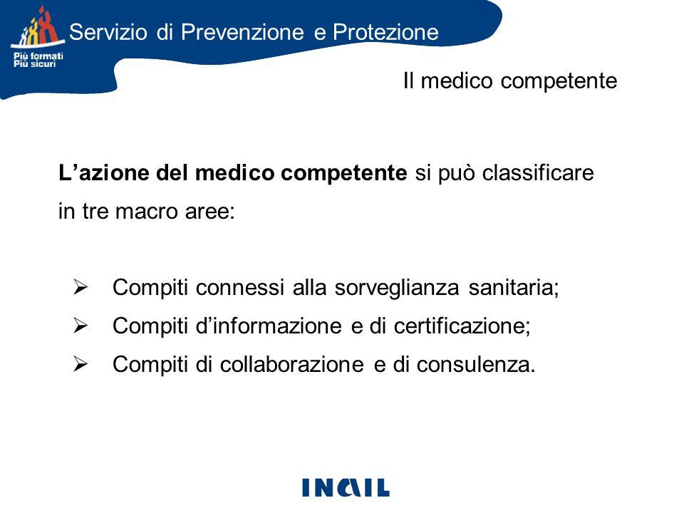 Lazione del medico competente si può classificare in tre macro aree: Compiti connessi alla sorveglianza sanitaria; Compiti dinformazione e di certificazione; Compiti di collaborazione e di consulenza.