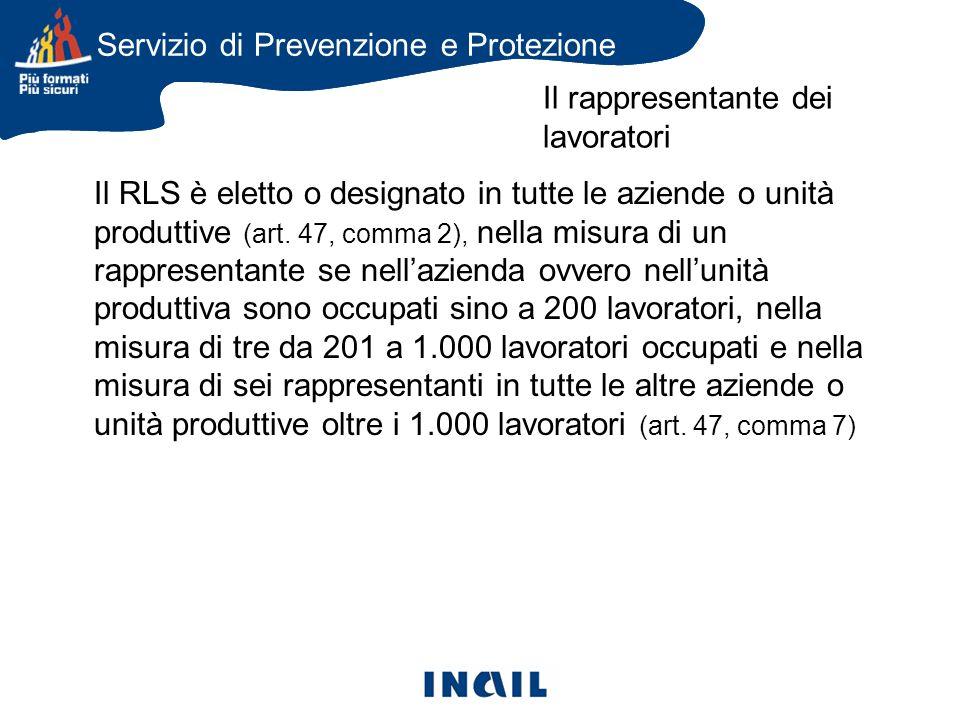 Il RLS è eletto o designato in tutte le aziende o unità produttive (art.