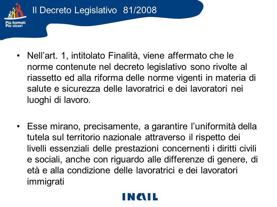 Il Decreto Legislativo 81/2008 Nellart.