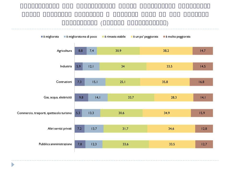 Valutazioni sul cambiamento della condizione economica della famiglia rispetto a quattro anni fa per settore produttivo ( valori percentuali )