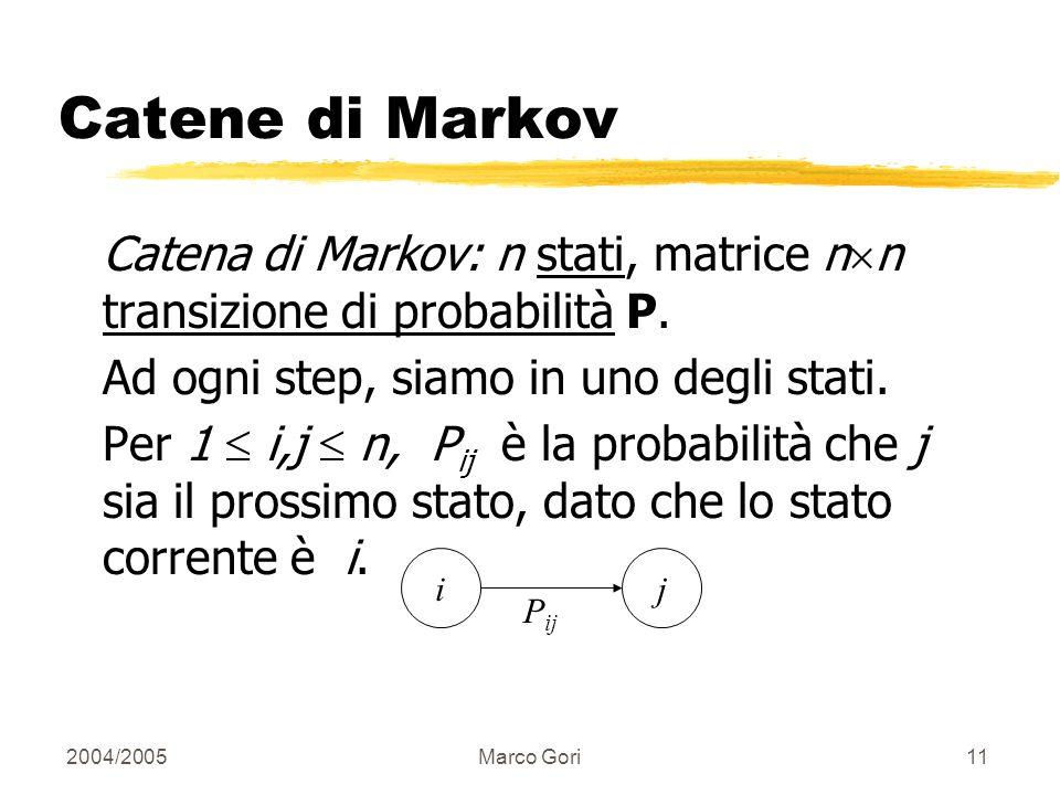 2004/2005Marco Gori10 La Connessione Diretta Ad ogni passo, con probabilità 1-d, salta ad una pagina. Con la rimanente probabilità d, segui un link ca