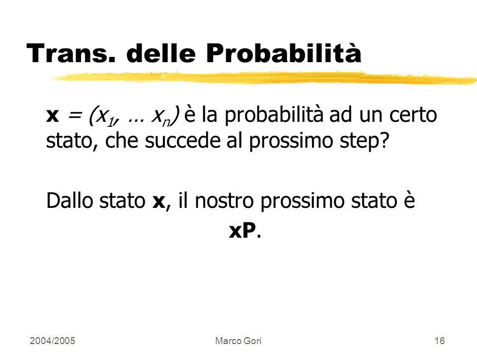 2004/2005Marco Gori15 Vettori Probabilità x = (x 1, … x n ) ci dice dove il random walk si trova. (010…0) significa siamo nello stato 2. Più in genera