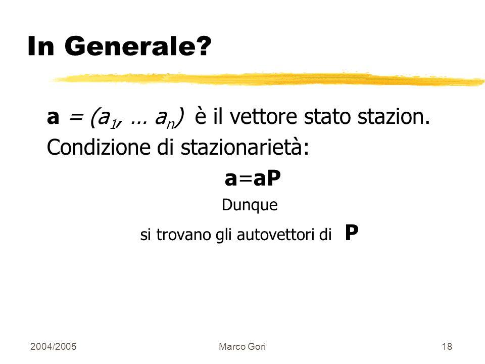 2004/2005Marco Gori17 Calcolo del Rate di Visita Stato stazionario: a = (a 1, … a n ): a i probabilità che siamo in i.