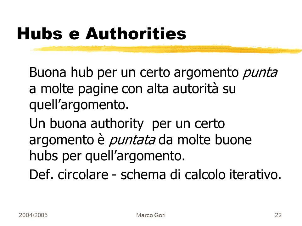 2004/2005Marco Gori21 Analisi Query-dependent Per ogni query, invece di una lista ordinata di pagine che soddisfano la query, trova due insiemi di pag