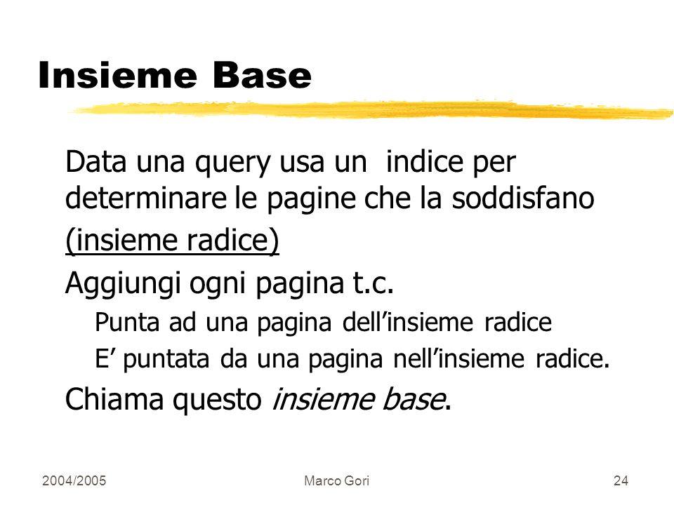 2004/2005Marco Gori23 Schema di Elaborazione Estrai l insieme base delle pagine che potrebbero essere buone hubs o authorities. Identifica un piccolo