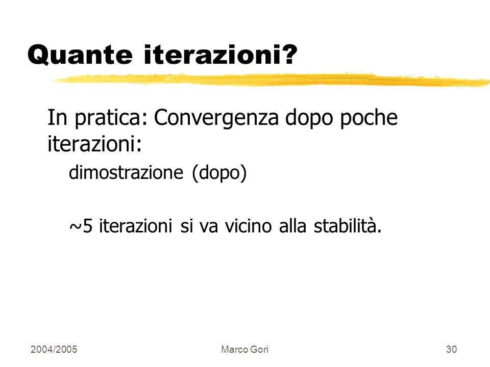 2004/2005Marco Gori29 Scaling Per prevenire valori troppo alti di h() e a() si scalano i termini dopo ogni iterazione. Non importa il fattore di scali