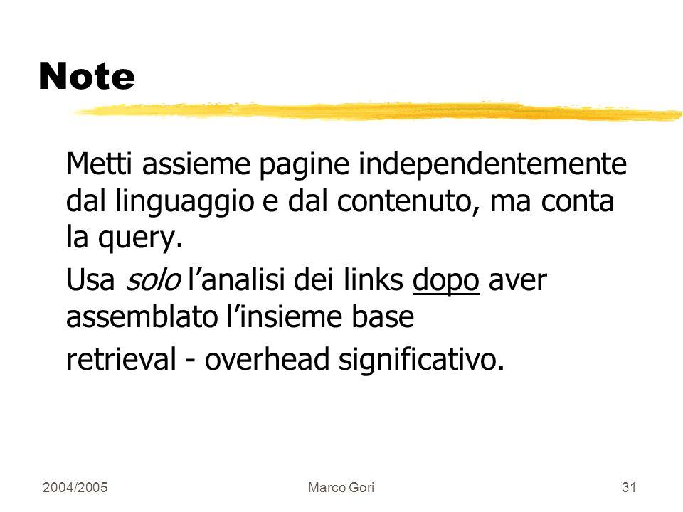 2004/2005Marco Gori30 Quante iterazioni.