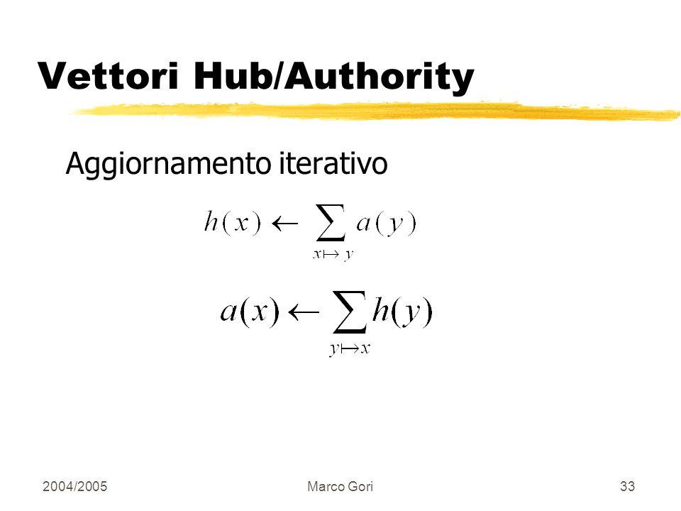 2004/2005Marco Gori32 Convergenza: Dim. n n matrice adiacenza A: A ij = 1 se i connette a j, altrimenti =0. 12 3 1 2 3 123123 0 1 0 1 1 1 1 0 0