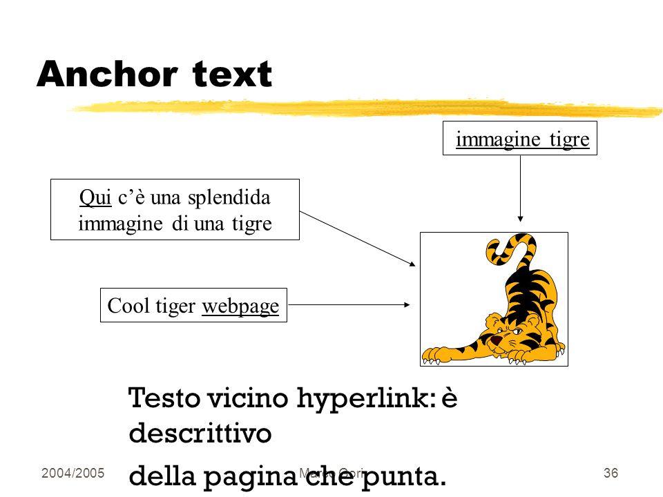2004/2005Marco Gori35 Tag/position heuristics Increm. i pesi dei termini nei titoli Increm. i pesi dei termini vicino linizio del doc, dei suoi capito