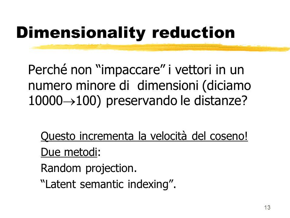 13 Dimensionality reduction Perché non impaccare i vettori in un numero minore di dimensioni (diciamo 10000 100) preservando le distanze.