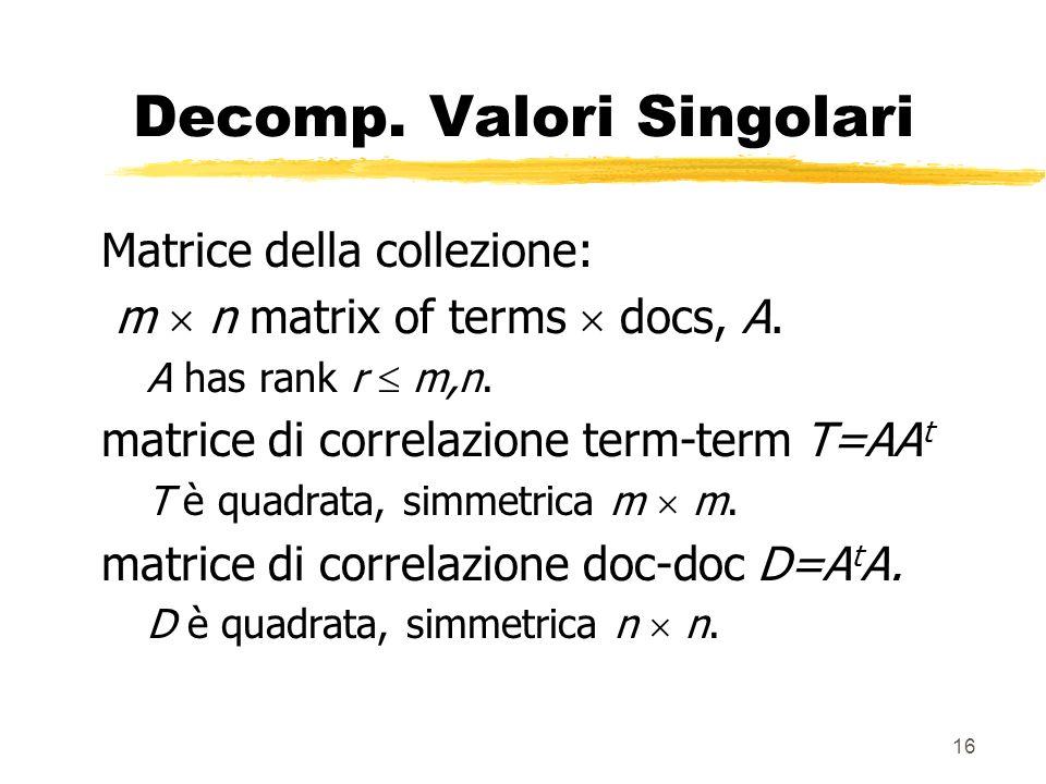 16 Decomp. Valori Singolari Matrice della collezione: m n matrix of terms docs, A.