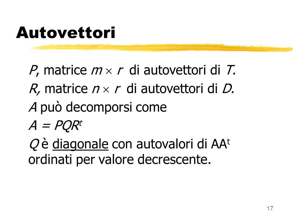 17 Autovettori P, matrice m r di autovettori di T.