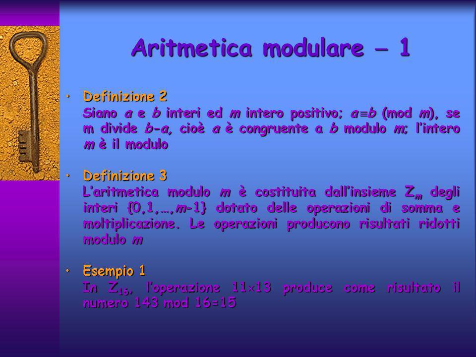Aritmetica modulare 1 Definizione 2Definizione 2 Siano a e b interi ed m intero positivo; a b (mod m), se m divide b-a, cioè a è congruente a b modulo