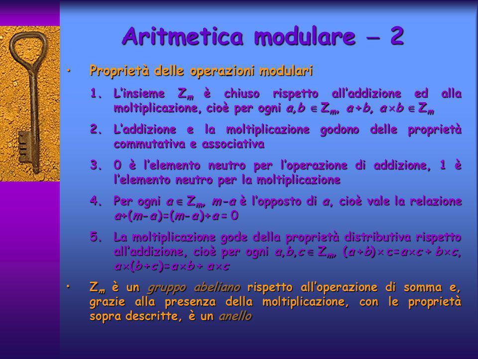 Aritmetica modulare 2 Proprietà delle operazioni modulariProprietà delle operazioni modulari 1.Linsieme Z m è chiuso rispetto alladdizione ed alla mol
