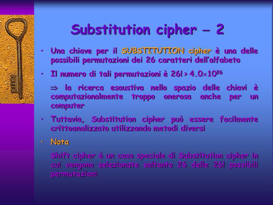 Substitution cipher 2 Una chiave per il SUBSTITUTION cipher è una delle possibili permutazioni dei 26 caratteri dellalfabetoUna chiave per il SUBSTITUTION cipher è una delle possibili permutazioni dei 26 caratteri dellalfabeto Il numero di tali permutazioni è 26.