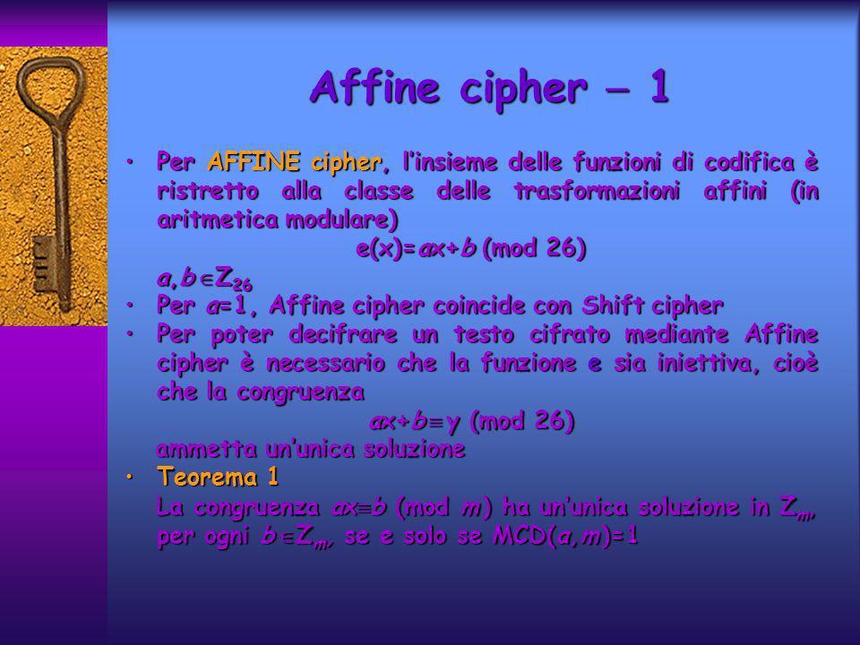 Affine cipher 1 Per AFFINE cipher, linsieme delle funzioni di codifica è ristretto alla classe delle trasformazioni affini (in aritmetica modulare)Per