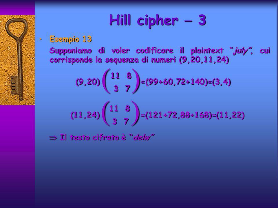 Esempio 13 Esempio 13 Supponiamo di voler codificare il plaintext july, cui corrisponde la sequenza di numeri (9,20,11,24) Supponiamo di voler codificare il plaintext july, cui corrisponde la sequenza di numeri (9,20,11,24) (9,20) =(99+60,72+140)=(3,4) (9,20) =(99+60,72+140)=(3,4) (11,24) =(121+72,88+168)=(11,22) (11,24) =(121+72,88+168)=(11,22) Il testo cifrato è delw Il testo cifrato è delw Hill cipher 3 ( ) 11 8 3 7 3 7 ( ) 11 8 3 7 3 7